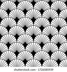 Art Deco pattern. Vector black white background. Luxury seamless ornament. Roaring twenties motif
