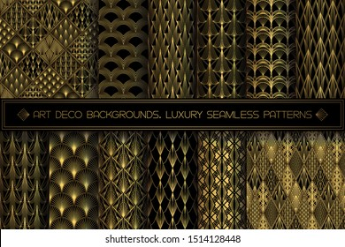 Art Deco Patterns. Seamless black and gold backgrounds set. Metallic shells or scales lace ornament. Minimalistic geometric design. Vector lines. 1920-30s motifs. Luxury vintage gold collection
