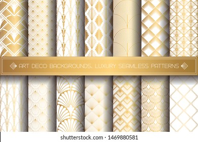 Art Deco Patterns. Seamless gold and white backgrounds set. Metallic shells or scales lace ornament. Minimalistic geometric design. Vector lines. 1920-30s motifs. Luxury vintage golden collection
