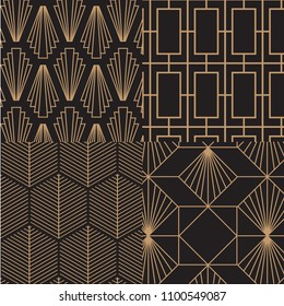 Art deco, retro, vintage pattern set. Vector art.