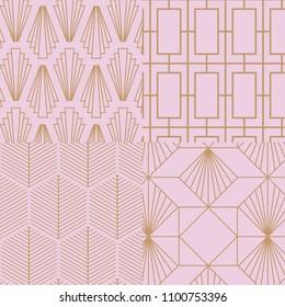Art deco, retro, vintage pattern collection. Vector art.