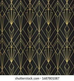 ART DECO SEAMLESS PATTERN BACKGROUND. LUXURY GOLD AND BLACK DESIGN.