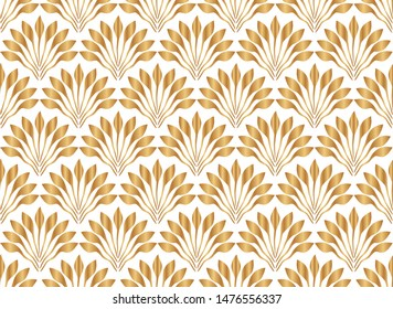 Art deco seamless pattern with fan tiles. Abstract golden backdrop. Modern stylish texture. Gold design for wallpaper, cover, interior, paper, invitation, package, print, background, template, textile