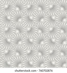 Art Deco Seamless Pattern. Geometric Floral decorative texture. Vector Leaves stylish background. Abstract sea shell illustration.