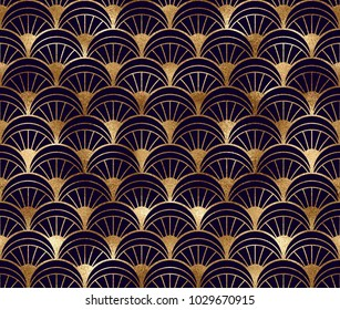 Art deco seamless pattern with gold geometric shapes and golden glitter texture on black background.