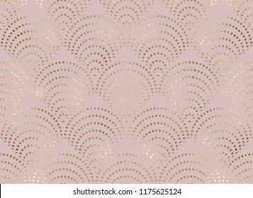 Art deco seamless pattern with gold fan tiles.
