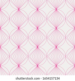 Art Deco seamless pattern. Art deco pattern with pink rhombuses on a light background. Art deco vector geometric pattern. Modern art deco pattern.