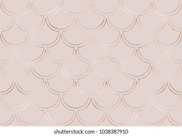 Art deco seamless pattern with rose gold mermaid scales and golden glitter texture.