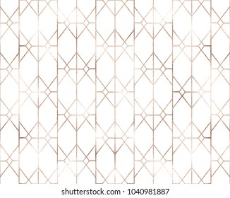 Art deco seamless pattern with rose gold geometric shapes and golden glitter texture.