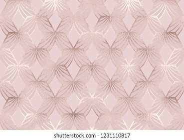 Art deco seamless pattern with rose gold hexagon tiles.