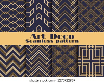 Art deco seamless pattern. Set retro backgrounds, gold and black color. Style 1920's, 1930's. Lines and geometric shapes. Vector illustration