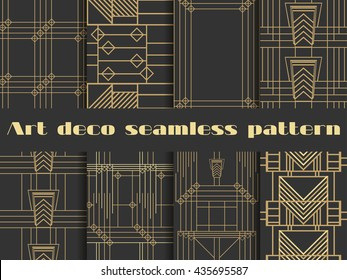 Art deco seamless patterns. Set retro backgrounds. Style 1920's, 1930's.