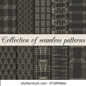 Art deco seamless patterns. Set of ten geometric backgrounds. Style 1920's, 1930's. Vector illustration.