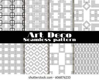 Art deco seamless patterns. Set retro backgrounds. Style 1920's, 1930's. Vector illustration