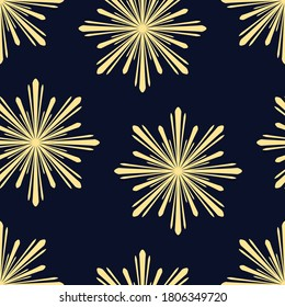 Art Deco seamless vintage wallpaper pattern in gold with dark blue background. Geometric decorative background