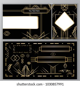 Art Deco set to do , a4,card, golden black Abstract background. Templates ,with set of decorations.