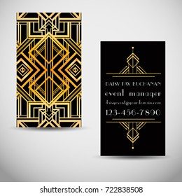 Art deco style business card template. Abstract  vintage patterns and design elements. Retro party geometric background set (1920's style). Vector illustration. Sample Text.