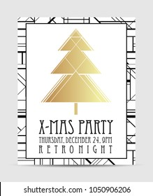 Art deco style Christmas greeting card template. Abstract vintage patterns and design elements. Retro party geometric background set (1920's style). Vector illustration for glamour party, wedding.