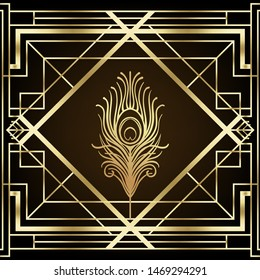 Art deco style geometric pattern in black and gold. Vector illustration. Roaring 1920's design. Jazz era inspired . 20's. Vintage Fabric, textile, wrapping paper, wallpaper. Retro hand drawn.