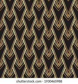 Art deco style geometric seamless pattern in black and gold. Vector illustration. Roaring 1920 s design. Jazz era inspired . 20 s. Vintage Fabric, textile, wrapping paper, wallpaper.
