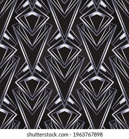 Art deco style geometric seamless pattern in black and silver. Vector illustration. Roaring 1920 s design. Jazz era inspired . 20 s. Vintage Fabric, textile, wrapping paper, wallpaper.