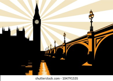 An Art Deco style illustration of Big Ben and Westminster Bridge in London.