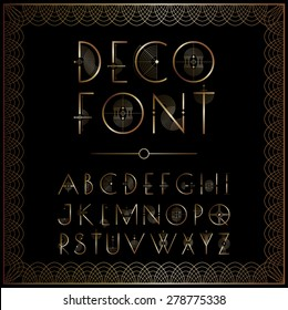 Art Deco style lettering in gold