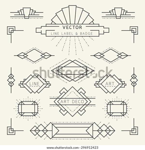 Art Deco Style Linear Geometric Labels Stock Vector Royalty Free 296912423