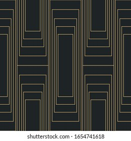 Art Deco style pattern with abstract geometric shapaes in golden and anthracite grey shades. Seamless vector pattern.