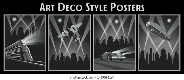 Art Deco Style Poster Set, Locomotive, Aircraft, Car, Zeppelin, Citiscape Background, Rays of LIght, Vintage Design