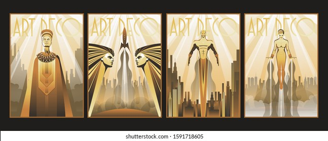 Art Deco Style Posters, Egyptian Woman, Retro Future Space Rocket, Flying Man and Robotic Woman