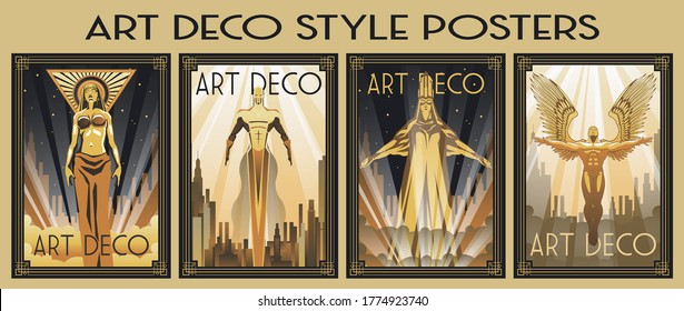 Art Deco Style Posters, Men and Women, Cityscape Backgrounds, Rays of Light, Golden Gradients, Retro Frame