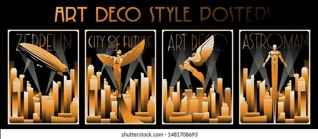 Art Deco Style Posters, Original Golden Gradient Vintage Shapes