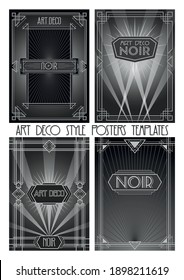 Art Deco Style Posters Templates, 1920s, 1930s Noir Style Backgrounds, Ornamental Frames