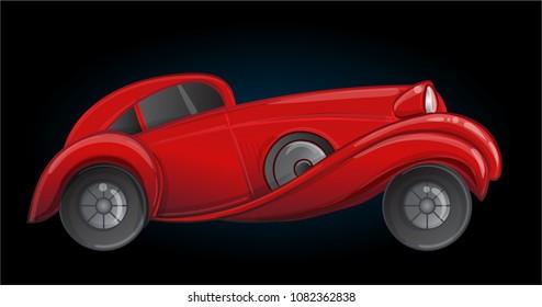 Art deco style red car. Vector illustration. Roaring Twenties. Classic automobile, luxury vintage concept.