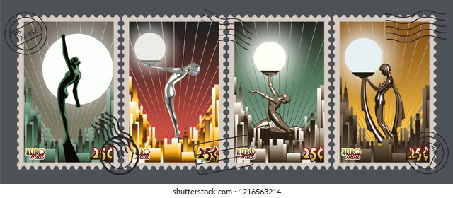 Art Deco Style Retro Postage Stamps from the Roaring Twenties
