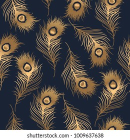 Art deco style  seamless pattern with golden feathers. Vector illustration.