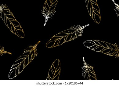 Art Deco style seamless pattern with golden flying feathers on a black background.Hand drawn bird golden feathers flying in the air. Retro, Vintage style vector.For the textile industry, tapestry,wall