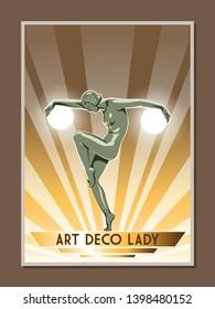 Art Deco Style Statue Artistic Woman Figure Retro Poster Design