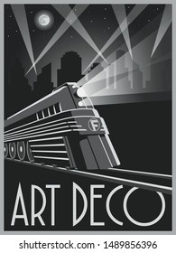 Art Deco Style Transport Poster. Train Vintage Illustration Black and White Style