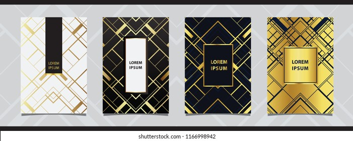 Art deco style for wedding invitation, decorative patterns, luxury templates, Gold collection of modern abstract elements, vector illustration.