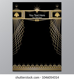 Art Deco template golden-black, A4 page, menu, card, invitation,palm and shape in  ArtDeco/Art Nuvo style, beautiful bakcground .