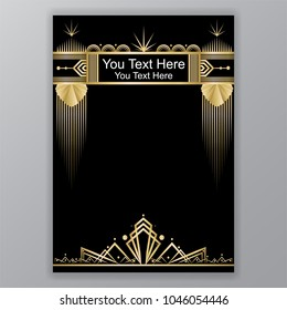 Art Deco template golden-black, A4 page, menu, card, invitation, Moon stars and city lights in a ArtDeco/Art Nuvo style, beautiful bakcground .