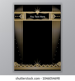 Art Deco template golden-black, A4 page, menu, card, invitation, Moon and stars in a ArtDeco/Art Nuvo style, beautiful bakcground .
