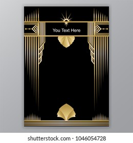 Art Deco template golden-black, A4 page, menu, card, invitation, Sun and leaf in a ArtDeco/Art Nuvo style, beautiful bakcground .