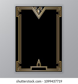 Art Deco template golden-black, A4 page, menu, card, invitation, X symbol and coll triangles lines  ArtDeco/Art Nuvo style, beautiful bakcground .