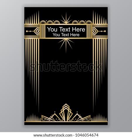 art deco template goldenblack a 4 page のベクター画像素材
