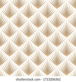Art deco trellis lines seamless pattern vector graphic design. Geometric art deco wallpaper interior repeating pattern with gold lines shapes on white. Vintage royal style.