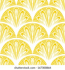 Art Deco Vector Geometric Pattern In Bright Yellow Seamless Texture For Web Print