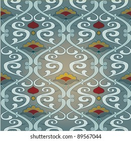Art Deco vector pattern  in blue, green and beige.